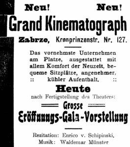 Ogłoszenie o otwarciu trzeciego kina Grand-Kinematography